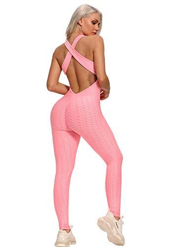 FITTOO Mallas Pantalones Deportivos Leggings Mujer Yoga de Alta Cintura Elásticos y Transpirables para Yoga Running Fitness con Gran Elásticos1370 Rosa S
