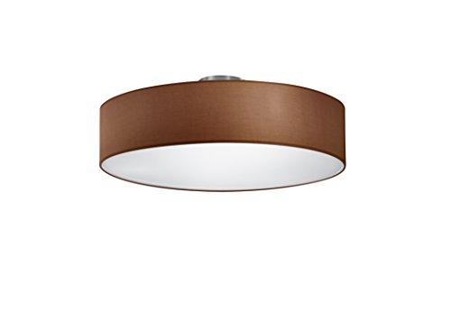 lightling modern Deckenleuchte in nickel matt, Stoffschirm braun, 3 x E27 max. 60W, ø 50 cm, Höhe: 20.5 cm