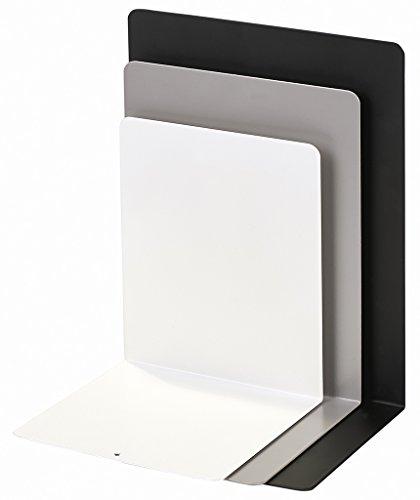 moses. Buchstützen-3er-Set libri_x , 3er Set Buchständer aus Metall , Drei Metall-Buchstützen im Set in schwarz, grau und weiß