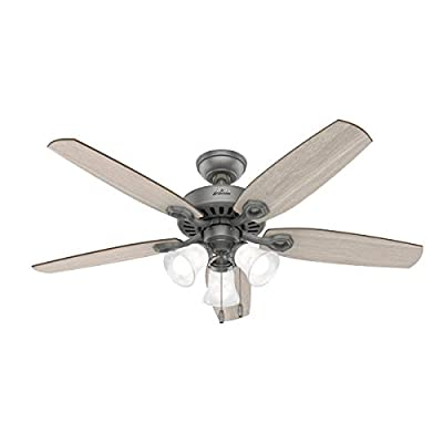 """Hunter Fan Company 51110 Builder Indoor Ceiling Fan with LED Light and Pull Chain Control, 52"""", Matte Silver Finish"""
