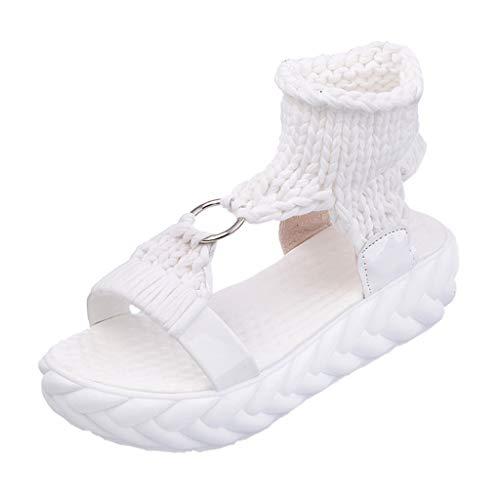 ZIYOU Damen Strassenmode Plattform Sandalen Sommer Mode Komfort Große Größe Schuhe(Weiß,41 EU)