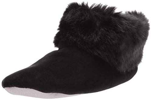 isotoner Womens Stretch Velour and faux fur Sabrine Bootie House Slipper,Black,9.5-10.5