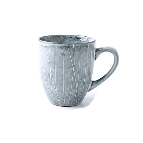 Tazas Taza De Café Taza Creativa de Estilo japonés de cerámica Taza Simple de la Taza de café con la manija de Gran Capacidad Vidrio for Beber de Rayas Taza de la Leche Taza de café