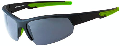 Hornz HZ Serie Ascendancy - Gafas de Sol Polarizadas Premium Marco negro mate con neón Verde – Lente de humo oscuro
