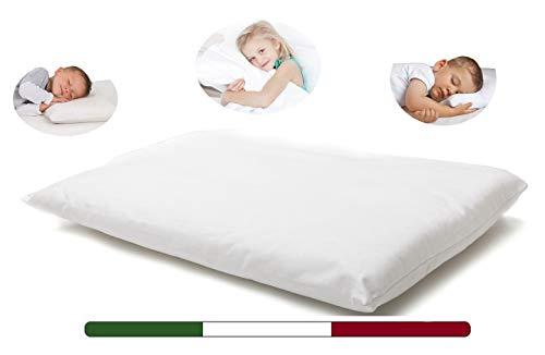 Cuscino Culla Neonato (Made in Italy e OEKO-TEX) - Cuscino per Bambini - Cuscino Culla Bambino Traspirante, Antiacaro, Antiallergico