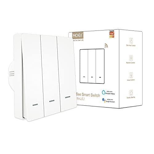 MOES interruttore smart ZigBee, e senza cavo neutro, non richiede condensatore, Smart Life Tuya app controllo da remoto, compatibile con Alexa Google Home, richiede Hub Zigbee Tuya, 3 Gang, bianco