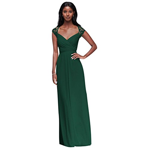 Long Mesh Bridesmaid Dress with Lace Cap Sleeves Style F19505, Juniper, 8