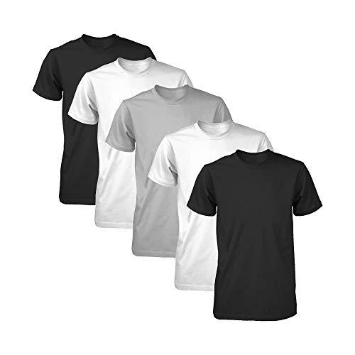 Kit 5 Camisetas Básicas Fitness Part.B Masculina (Branco/Preto/Cinza, G)