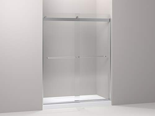 KOHLER K-706015-L-SH Levity Bypass Shower Door with Towel Bar and 1/4-Inch Crystal Clear Glass in Bright Silver,74.00 x 3.06 x 59.63 inches