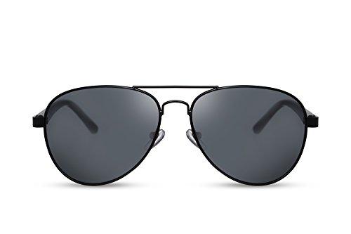 Cheapass Sonnenbrille Schwarz Flieger-Brille Pilot Polizei Top-Gun UV-400 Retro Metall Damen Herren