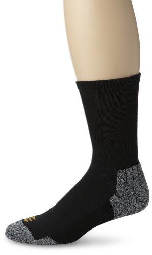 PowerSox Herren Power-Lites Crew Socken mit Feuchtigkeitskontrolle, 3 Paar, Schwarz, Größe L (3er-Pack)