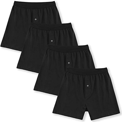 INNERSY Men's Cotton Boxer Shorts Knit Boxers with Soft Stretchy Waistband 4-Pack(4 Black,XL)