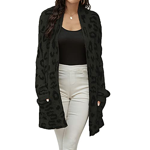Chenlao7gou621 SuéTer Cardigan Chaqueta De Punto con Estampado De Leopardo para Mujer OtoñO E Invierno para Mujer