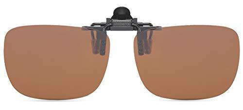 CAXMAN Polarized Clip On Sunglasses Over Prescription Glasses for Men Women UV Protection Flip Up Brown Lens Large