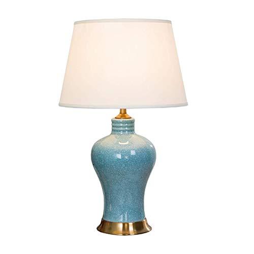 Lámpara de Mesa de cerámica Tradicional Cuerpo de lámpara de cerámica con Grietas de Hielo Azul con Pantalla de Tela de Lino Neutral Base de latón para el Estudio del Pasillo del Restaurante
