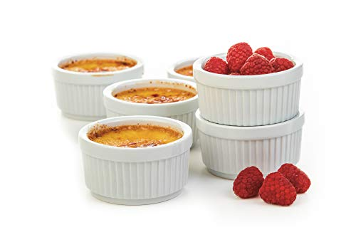 Prepworks by Progressive Porcelain Stacking Ramekins-Set of 6 for Baking, Crème Brulee Dishes, Souffle, Flan Pan Sauce, Custard, Pudding Cups, Dipping Bowls
