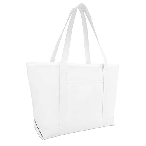DALIX 23' Premium 24 oz. Cotton Canvas Shopping Tote Bag in White