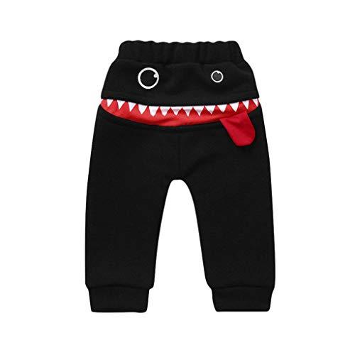 Kinder Jungen Mädchen Haremshose Cartoon Hai Große Zunge Harem Plus Samt Verdicken Hose, Schwarz(Plus Kaschmir), 18-24 Monate