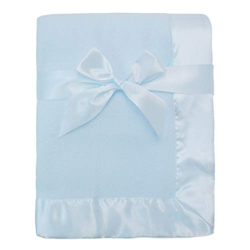 American Baby Company Fleece Blanket 30 X 40 with 2 Satin Trim, Blue, for Boys and Girls