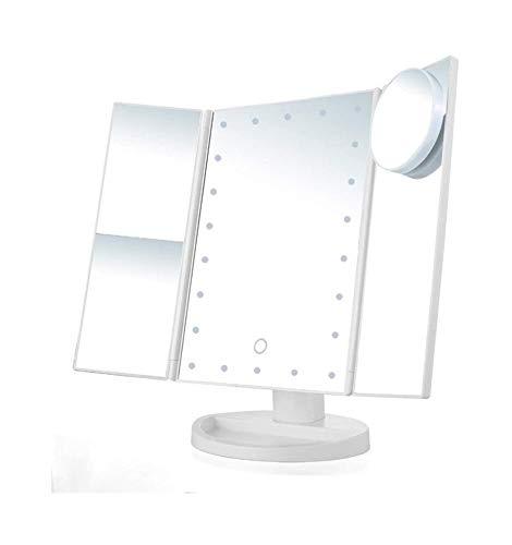 Espejo Maquillarse Espejos De Maquillaje Tri Fold Iluminado Tocador con 22 Luces LED De La Pantalla Táctil Y El Modo De Fuente De Alimentación Doble 3X / 2X / Ampliación 1X Espejo (Color : White)