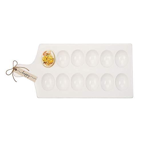 """Mud Pie 40700083 Deviled Egg Tray, 15.25"""" x 7"""", White"""