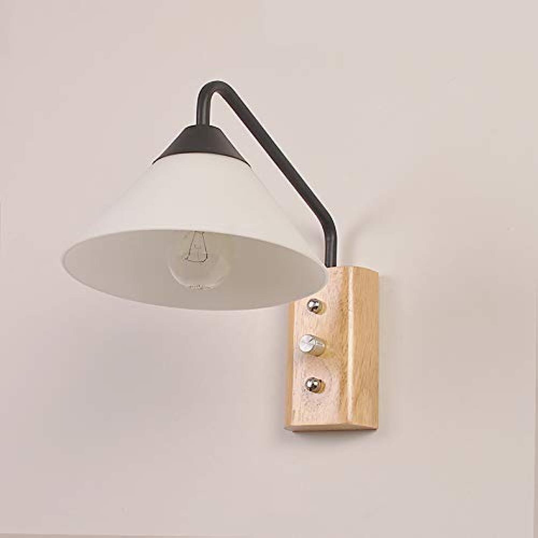 JINSHUL Wohnzimmer-Glaswandlampe einfache Studie Schlafzimmer Nachttischlampe aus Holz Wandlampe (Farbe   schwarz)