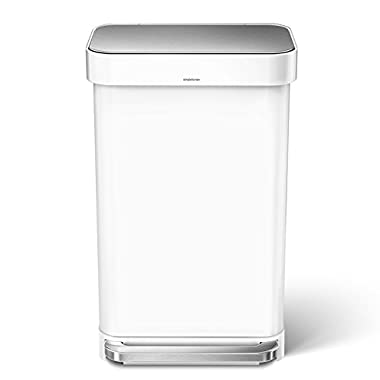 simplehuman 45 Liter/12 Gallon Stainless Steel Rectangular Kitchen Step Trash Can with Liner Pocket, White Steel