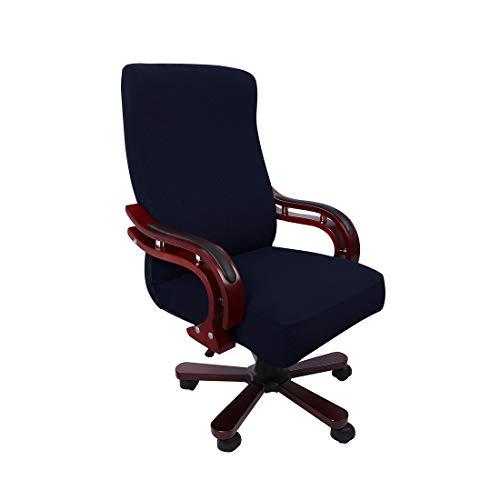 PiccoCasa Computerstuhl Schreibtischstuhl Bezug Jacquard Streifen, Hoher Rückenlehne Bezug für Universellen Drehbaren Boss-Stuhl, Dehnbarer wasserdichte Bürostuhl Bezug Navy Blau Größe L
