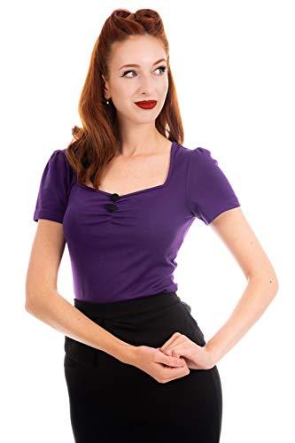 Ro Rox Doris Top Camiseta Pin Up 1950 Vintage Retro Rockabilly Pinup - Púrpura (4XL)