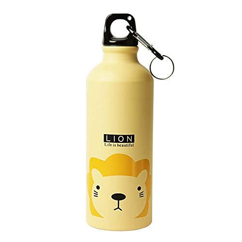 DUBENS 500ml Cute Metall Wasserflasche Trekking Camping Sport-Flasche, Freien beweglichen Sportflasche Aluminiumlegierung Kinder Wasserflasche Regard Trinkbecher (Gelb Löwe)