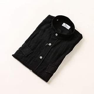 Mario Muscariello マリオムスカリエッロ リネン スタンドカラー サファリシャツ 半袖シャツ ブラック stand-r2mc-148