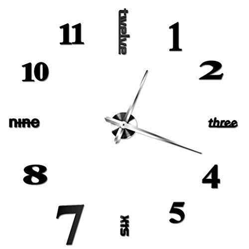 Zwei Blume Wandaufkleber Clock 3D Spiegel DIY Uhr, Kreativ übersichtliches Design for Haus, Büro, Hotel Dekoration, langlebig und leicht zu Hand Oben (Color : Silver)