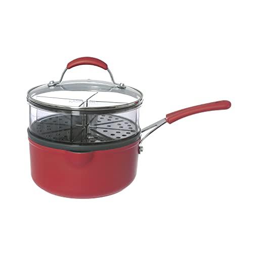 Casseruola rossa con vaporiera con manico e coperchio Rosso trasparente