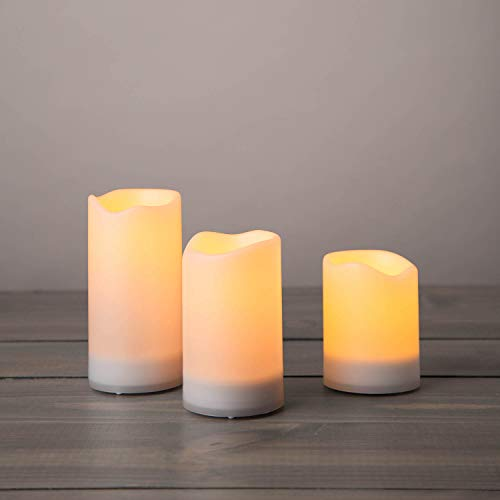 Outdoor Solar Powered Candles - Waterproof LED Flameless Candles, 3 Inch Diameter, Flickering Warm White Light, Dusk to Dawn Timer, Rechargeable Battery Included - Set of 3