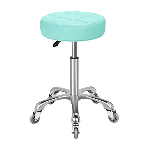 Karrie Swivel Stool Chair Adjustable Height,Heavy Duty Hydraulic Rolling Metal Stool for Kitchen,Salon,Bar,Office,Massage (Green)