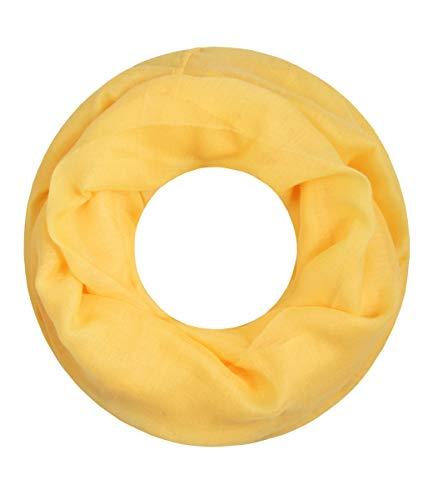 Majea Loop Cary Basic Schal Tuch Damen-schal Schlauchschal Rundschal Halstücher uni unifarben Loopschal einfarbig (gelb 1)