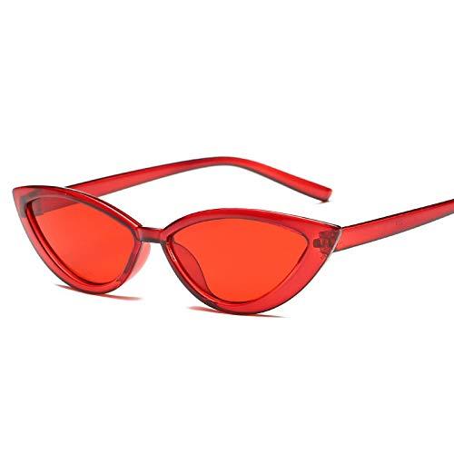 ShSnnwrl Gafas De Moda Gafas De Sol Gafas De Sol con Montura Transparente Estilo Ojo De Gato, Accesorios Rojos De Verano para Mujer, Gafas De Sol Femenin