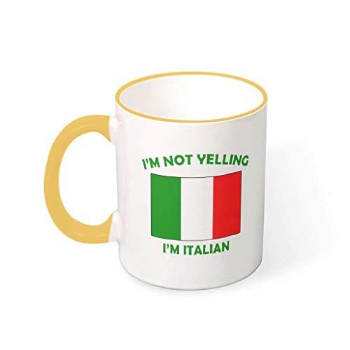 O2ECH-8 11 Oz Ich Schreie Nicht, ich Bin Italiener Becher Hochwertige Keramik Neuheit Mug - Lustige Sprüche Weihnachten Geschenke (Beidseitig Bedrucken) Goldenrod 330ml