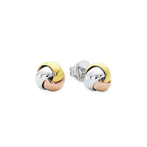 amor Ohrstecker für Damen Knoten 7 mm Tricolor 925 Silber teilvergoldet