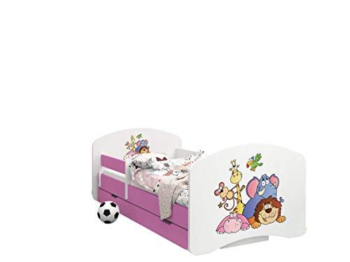Happy Babies - CAMA INFANTIL ROSA DOBLE CARA CON CAJÓN Diseño moderno con bordes seguros y colchón de espuma anticaída 7 cm (05. Safari, 180x90)