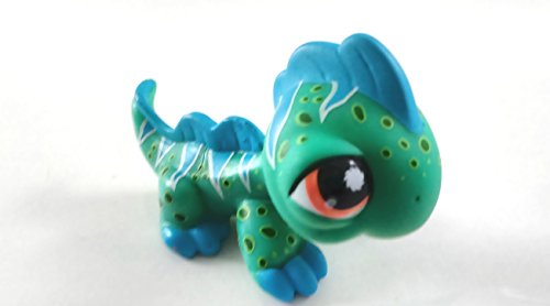 Iguana #906 (Green, Blue Spikes, Orange Eyes, White Triangles, Black Dots) Littlest Pet Shop (Retired) Collector Toy - LPS Collectible Replacement Single Figure - Loose (OOP Out of Package & Print)
