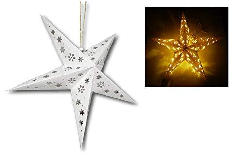 3D Stern LED beleuchtet mit 10 LEDs 40cm Durchmesser Weihnachtsstern Fenster Dekoration Beleuchtung Weihnachten batteriebetrieben (weiß mit Blüten)