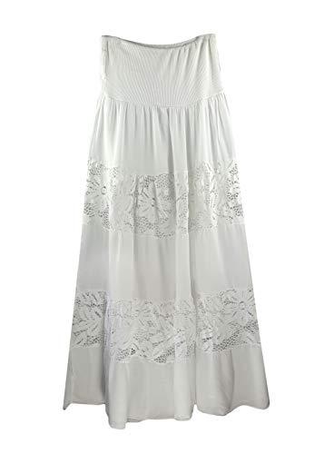 Heimatliebe Damen Maxirock im Boheme Stil, Farbe:Weiß, Größe:M