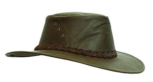 Kakadu Traders - Cappello traveller australiano in pelle di canguro   Darwin- viaggio   Cappello da valigia in marrone marrone S