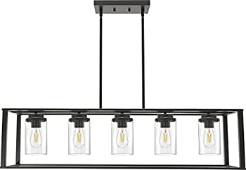 Banato 5-Light Farmhouse Chandelier Rectangle Black Pendant Lighting for Kitchen Island Dining Room Lighting Fixtures Hanging Linear Cage Island Lighting with Clear Glass Shade