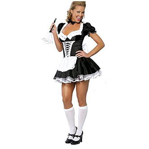 Vestido De Mujer De Halloween, Traje De La Doncella Cosplay Sexy Vestido De Manga Corta con Camarera Conjuntos De Lencera con Medias Altas Accesorios De Disfraces De Halloween 2XL