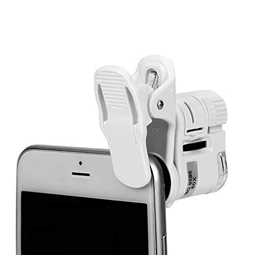Mikroskop-Lupe mit 60-facher Vergrößerung, tragbare Mini-Lupe mit LED und UV-Licht, Universal-Mikrolinse, Schmucklupe, Mikroobjektiv, Zoom-Kamera-Clip für Handy und Tablet