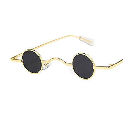 NJJX Gafas De Sol Steampunk ConMonturaMetálica Pequeña De Moda Gafas De Sol Redondas Para Mujer/Hombre Vintage Gafas DeConducción Góticas Clásicas Goldgrey