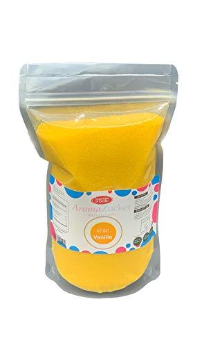1 KG Farbzucker Aromazucker für Zuckerwatte Bunt | Erdbeere, Kirsche, Cola, Vanille, Blau Zuckerwattezucker (Vanille)