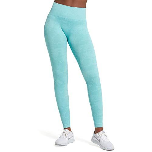Aoxjox Yoga Pants for Women Workout High Waisted Gym Sport Camo Seamless Leggings (Camo/Aqua Green, X-Small)